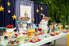 Little Prince Party Prince Party Theme, Little Prince Party, Prince Birthday Party, Birthday Table, The Little Prince, 1st Boy Birthday, First Birthday Parties, First Birthdays, Baptism Party