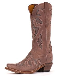 Lucchese Taupe Brown Saffia Goat Boot - Elegant & Unique | http://www.countryoutfitter.com/products/31124-womens-taupe-brown-saffia-goat-s5-toe-boot #cowgirlboots