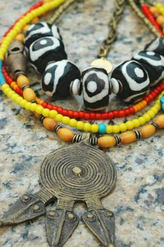 African Tribal Bone, Yellow, Orange Glass, Turquoise and Ashanti Shield Necklace Tribal Necklace, Tribal Jewelry, Beaded Jewelry, Beaded Bracelets, Necklaces, African Beads, Tribal African, African Safari, Orange And Turquoise
