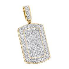 Luxurman Diamond 10k Gold 7/8ct TDW Diamond Iced Out Small Dog Tag Pendant