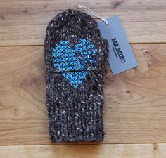Hand Knit Wool Mittens Brown Hand Knit Gloves Soft Women Accessories with Cross Stitch Design Blue Heart