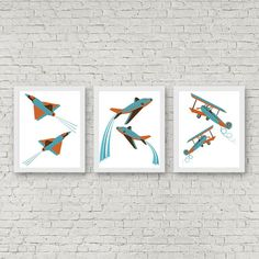 Instant Download - Set Of 3 Art Prints - Airplane Nursery / Boys Room Wall Art - Aeroplane /Tiger Moth /Fighter Jet Print - Aviation Art
