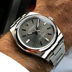 Rolex Oyster Perpetual rhodium dial