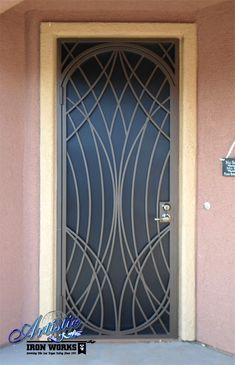 """The Web"" - Wrought Iron Security Door with Perforated Metal"