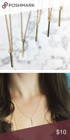 Single vertical gold bar necklace Gold bar minimalist necklace. Made with alloy metals- lead free. Perfect everyday necklace and goes with everything. Bundle and save! WILA Jewelry Necklaces
