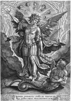 Hieronymus Wierix - San Miguel and Lucifer (Luzbel) Religious Tattoos, Religious Art, Archangel Tattoo, Archangel Gabriel, Occult Art, Biblical Art, Tatoo Art, Art Tattoos, Angels And Demons