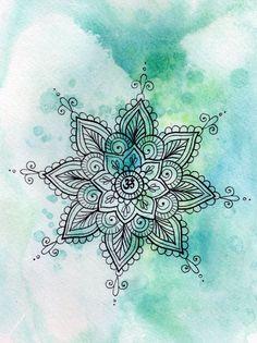 #Fondos Fondo con Mandala súper cool con fondo Acuarelado turquesa Sígueme aquí en Pinterest como