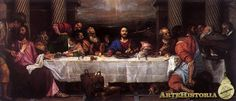 TIZIANO. Ultima Cena. 1565. Tiziano sigue a Leonardo en la organización compositiva.