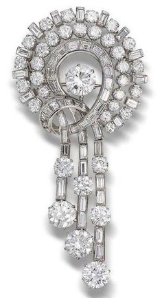 Beautiful Round Baguette Vintage Style brooch 925 sterling silver Jewelry Cz New #NIKI