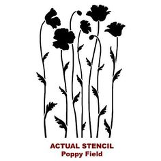 Beautiful Flower Stencils for easy modern all decor. Beautiful poppy stencil for walls. Easy and fast stencil decor with large flower stencils. Stencil Decor, Stencil Painting, Stencil Designs, Silk Painting, Flower Silhouette, Silhouette Painting, Printable Stencil Patterns, Embroidery Designs, Flower Outline
