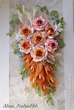 Картина панно рисунок Квиллинг Букет невесты Розы  Бумага Бумажные полосы Бусины фото 1