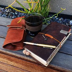 「Best friends everyday. #writingtools in my leather carrier + #coffeeoftheday in my #keepcup = great thoughts happening in my #travelersnotebook.…」