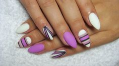 Purple and white matte nails
