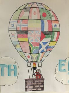 Hot air balloon with different flags for all around the world theme for RA at UM.