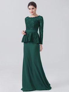 Long Sleeve Lace Chiffon Dress