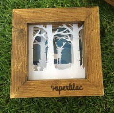 Original mini framed papercut stag by PaperlilacCo on Etsy