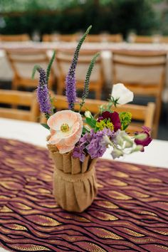 Hessian Jar Flowers Centrepiece Woodland Farm Camping Weekend Wedding http://www.frecklephotography.co.uk/