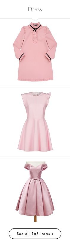 """Dress"" by bloomly-bee on Polyvore featuring powder pink, dresses, pink, womenclothingdresses, pink dress, msgm dress, msgm, flared hem dress, ruffle sleeve dress e evening cocktail dresses"