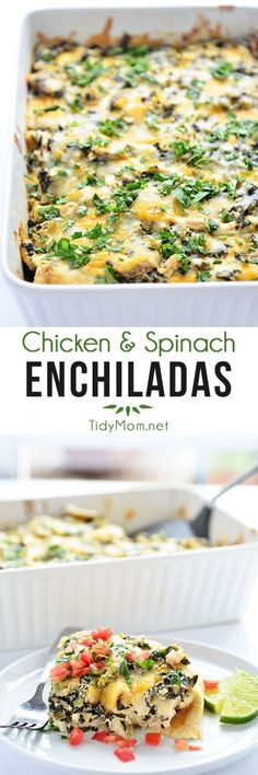 Chicken and Spinach Enchiladas - recipe at TidyMom.net *note to self: Use corn tortillas.