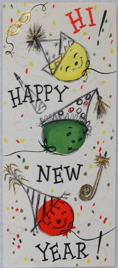 #115 60s Happy New Year! Vintage Christmas Card-Greeting