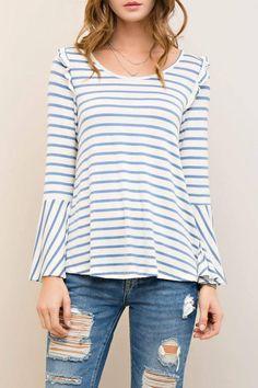 Shoptiques Product: Stripes & Ruffles Top  - main