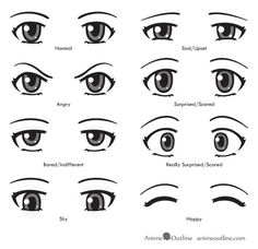 how to draw anime/ How to Draw Anime Eyes and Eye Expressions Tutorial/ Anime Outline