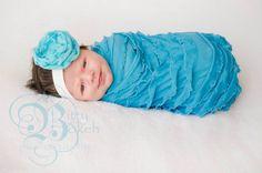Baby Headband and ruffled wrap..SALE Priced... Ready to Ship... Baby wrap and matching flower headband.. Newborn swaddler...Ruffle fabric