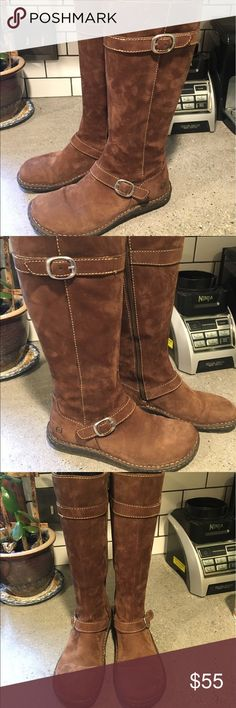 Born brown suede knee high boots Excellent condition. Decorative buckle at ankle and at the top. Very comfortable. Born Shoes