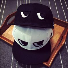 Men Women Adjustable Baseball Cap Black White Eyes Snapback Hip-hop Hat