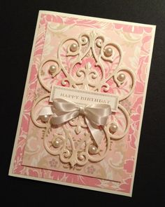 Elegant ShabbySweet Birthday Card with by PinkPetalPapercrafts