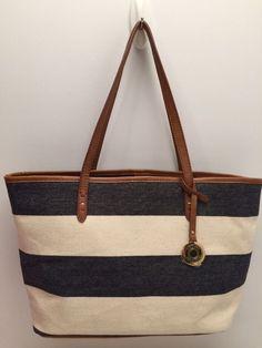 Tommy Hilfiger Handbag *Navy White Stripe Shopper Shoulder Purse Tote New $85