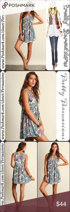 """NWT Paisley Print Boho Mini Dress Tunic NWT Paisley Print Boho Mini Dress Tunic  Available in sizes S, M, L Measurements taken from a size small  Length: 34.5"""" Bust: 38"""" Waist: 40""""  Cotton blend   Features:  • beautiful multicolored paisley print w/Ivory base color • soft, breathable material  • rounded v-neckline  • sleeveless  • relaxed, flowy, easy fit • partial button front detail   Bundle discounts available  No pp or trades  Item # 1o1-6-8-0440IPTD Pretty Persuasions Dresses Mini"""