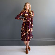 Hatton Soft Swing Dress - Burgundy