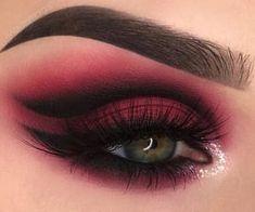 Burgunder Augen Make-up Kunst Rocky Horror Looks # Kunst Shimmer Eye Makeup, Red Eye Makeup, Dark Makeup, Smokey Eye Makeup, Eyeshadow Makeup, Red And Black Eye Makeup, Burgundy Makeup, Asian Makeup, Korean Makeup