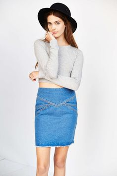 Les Expatries Field Combo Denim Skirt - Urban Outfitters