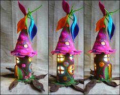felted fairy lamp tree lamp bedside lamp night por FeltedArtToWear