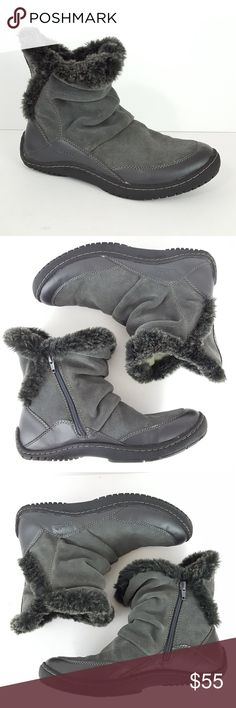 """{Kalso Earth} Gray Suede Faux Fur Side Zip Boots 9 Kalso Earth Boots Size 9B Women's """"Invent"""" Gray Suede Faux Fur Side Zip Winter  Excellent pre-owned condition; has minimal wear. Please see pics.  Outsole at widest = 3.75"""" Total height = 7.5""""  W-SHOE-3985 Kalso Earth Shoes Winter & Rain Boots"""