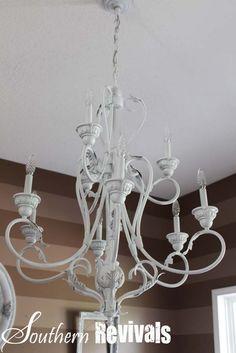 krylon painted chandelier