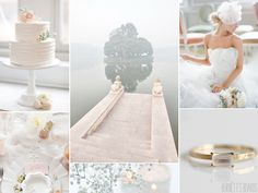 white and ethereal wedding inspiration board