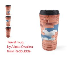 Ravel mug - red bricks broken wall with blue sky view through the hole. #travelmug #mug #product #Redbubble #wall #bricks #sky #bluesky #hole #chuckhole