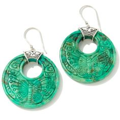 """Sajen Silver by Marianna and Richard Jacobs Carved Turquoise """"Butterfly"""" Earrings"""