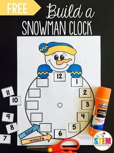 Free Snowman clock! A fun way to work on teaching time this winter season with kindergarten and preschool kids! #teachingtime #winterprintables #snowman #theSTEMlaboratory