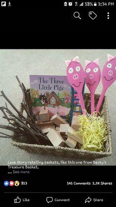 3 little pigs story sack idea. – Crafts with children's books – … - Bildung Preschool Literacy, Preschool Books, Kindergarten Activities, Classroom Activities, Toddler Activities, Preschool Activities, Steam For Kindergarten, Preschool Music, Toddler Play