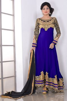 Royal Blue Georgette #DesignerAnarkaliSuit With Chiffon Dupatta @mokshafashions  Item Code : MFB01341  Price : $ 83.5  http://mokshafashions.com/royal-blue-georgette-designer-anarkali-suit-with-chiffon-dupatta.html