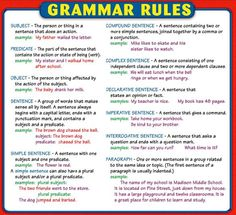 What are the basics of English grammar? English Grammar Rules, Grammar And Punctuation, English Writing Skills, Learn English Grammar, Teaching Grammar, Grammar Lessons, English Language Learning, Teaching Writing, English Words