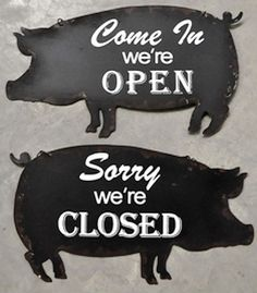 Pig Open Closed Sign Steel Double Sided Cabin Man Cave Home Butcher Shop Decor