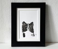 Watercolor Border Collie dog portrait dog painting