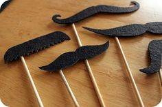 Mustache Props Use this tutorial to make mustache props for the photo booth. Get the tutorial at Easy Makes Me Happy.