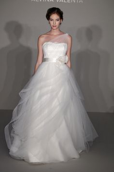 Wedding dress with one sheer shoulder