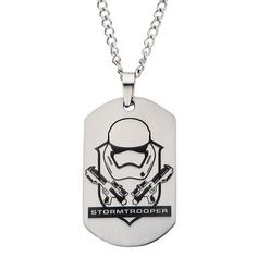 Men's Disney® Star Wars Stormtrooper Laser Etched Stainless Steel Dog Tag Pendant with Chain (22